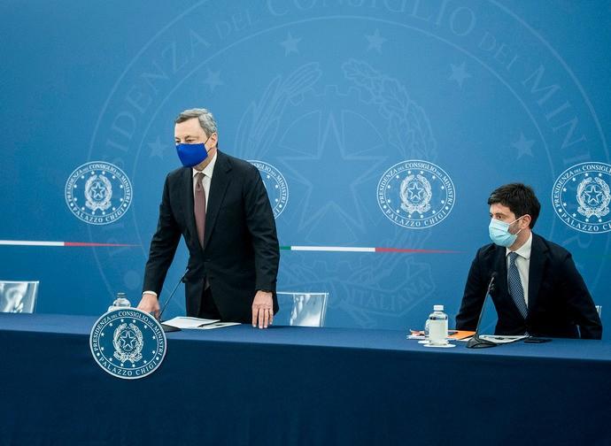 Draghi e il ministro Speranza
