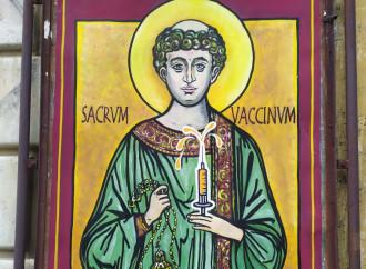 L'icona di santo Stefano con il vaccino e la fede orizzontale